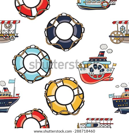 Funny cute hand drawn kids toy water transport for nursery decoration. Baby bright cartoon lifebuoy, lifering, water-tram, water-bus, steamship, cruise vector seamless pattern on white background. - stock vector