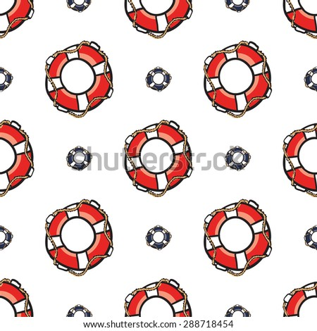 Funny cute hand drawn kids toy water transport for nursery decoration. Baby bright cartoon lifeline and lifering vector seamless pattern on white background. Set of isolated elements