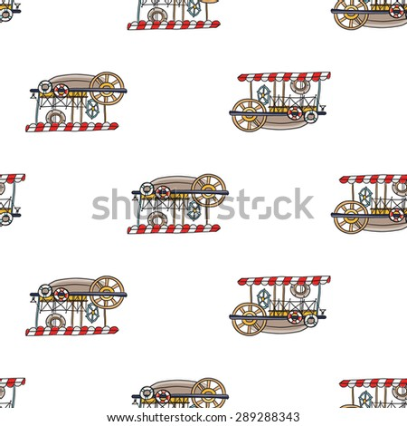 Funny cute hand drawn kids toy water transport for nursery decoration. Baby bright cartoon water-bus vector seamless pattern on white background. Set of isolated elements