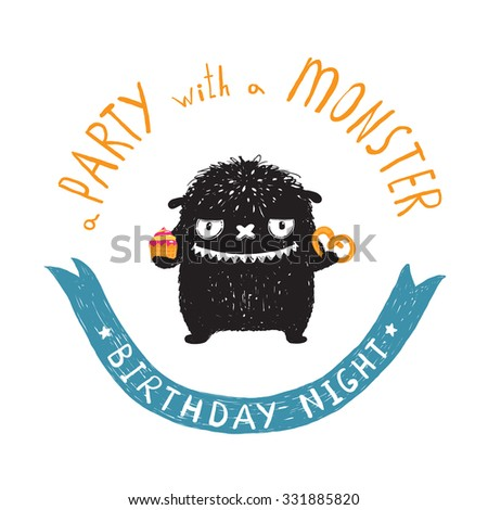 Funny Cute Little Black Monster Birthday Party Greeting Card or Invitation. Sweet kids playful fictional character treating with sweets picture post card with a ribbon. Vector illustration. - stock vector