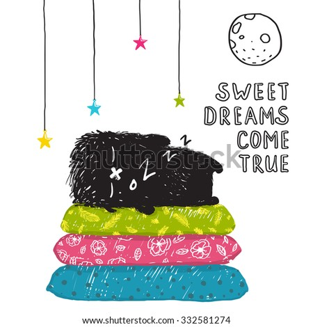 Funny Cute Little Black Monster Sleeping Dreams Come True Greeting Card or Invitation. Sweet kids dreaming at night on pillows fictional character under the moon picture card. Vector illustration. - stock vector