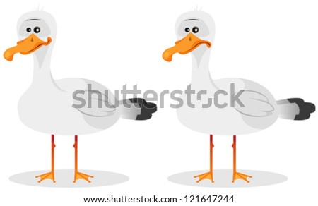 Funny Cute Seagull/ Illustration of a cartoon funny seagull beach bird character, in smiling and neutral emotions - stock vector
