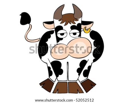 Funny dairy cow with golden earring.