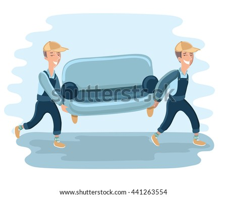 Funny Delivery character man movers carry sofa. Vector detailed illustration isolated on white background. - stock vector