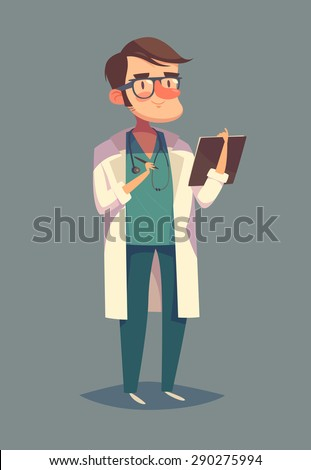 Funny doctor character. Isolated vector illustration. - stock vector