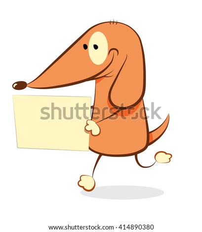 Funny Dog bringing a blank sign - a vector illustration representing a friendly cartoon dog walking on two legs and bringing a blank sign with copy space in his hands, isolated on white background - stock vector