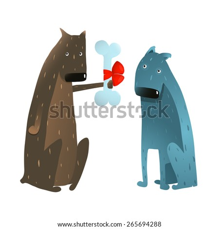 Funny Dog in Love Presenting Bone to Friend. Dog giving a present to a friend colorful cartoon illustration. Vector EPS10.  - stock vector