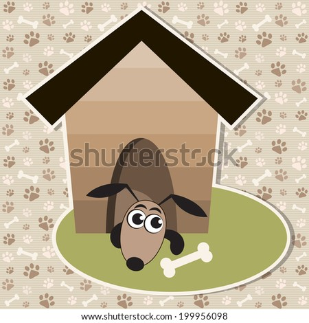 Funny dog in the house - stock vector