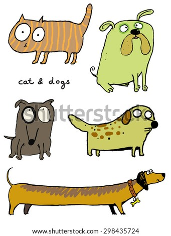 funny dogs & cat icons - stock vector