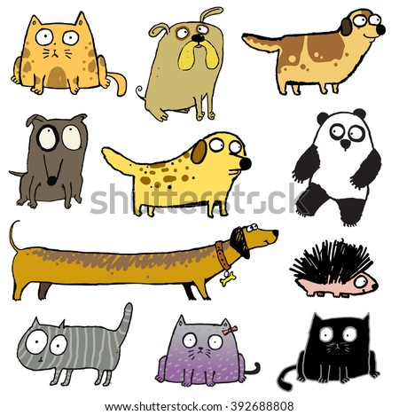funny dogs & cat icons. dogs, cats and other animals. panda, hedgehog.