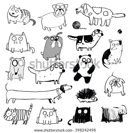 Funny dogs & cat icons. dogs, cats and other animals. panda, hedgehog