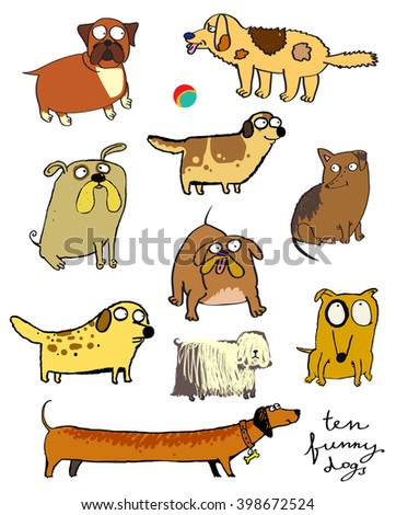 funny dogs icons.  - stock vector