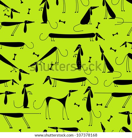 Funny dogs, seamless background for your design - stock vector