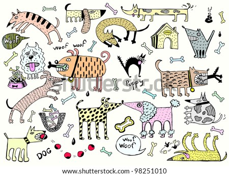 Funny Dogs Set (Colored Vector) - stock vector
