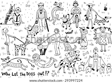 Funny Dogs with Owners Set - stock vector