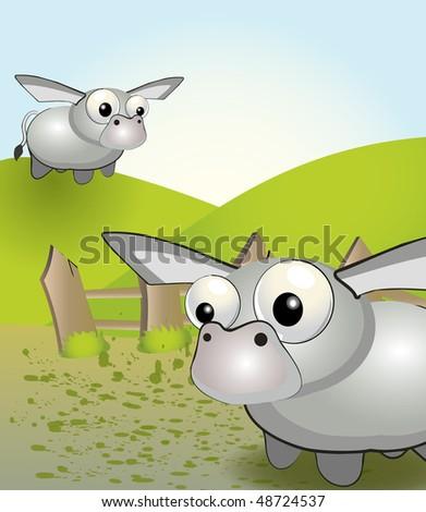 Funny donkey - stock vector