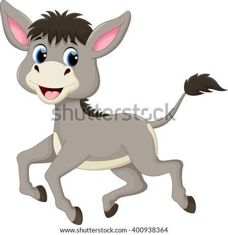 Funny donkey cartoon  - stock vector