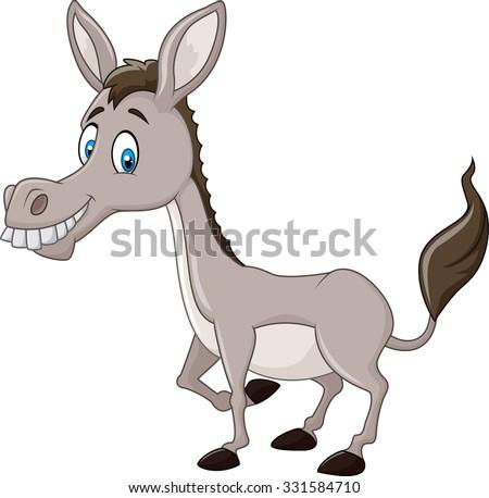 Funny donkey isolated on white background - stock vector