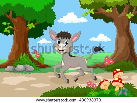 Funny donkey with a background of a beautiful garden  - stock vector