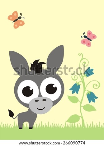 funny donkey with big eyes - stock vector