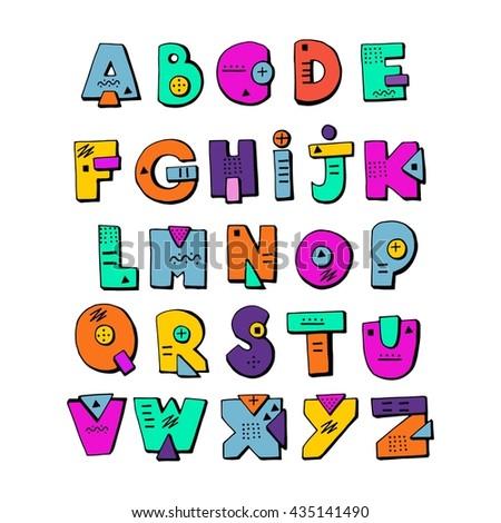 Funny doodle alphabet colorful creative design stock vector funny doodle alphabet colorful creative design abc kids hand drawn cartoon letters altavistaventures Gallery