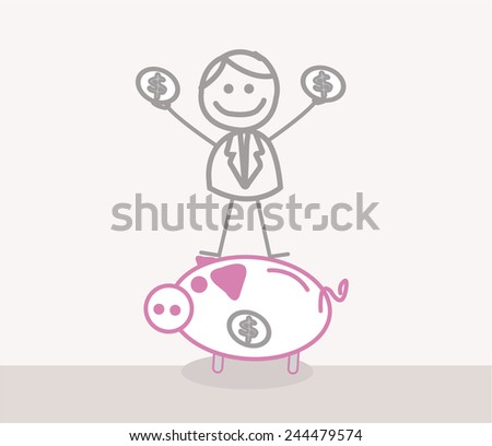 Funny Doodle : Business Man Save Money - stock vector