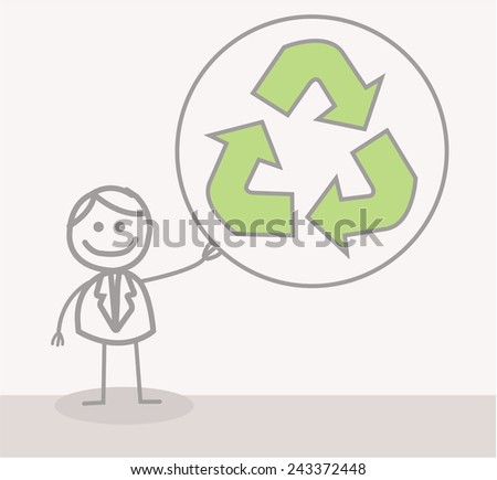 Funny Doodle : Businessman Ecology - stock vector