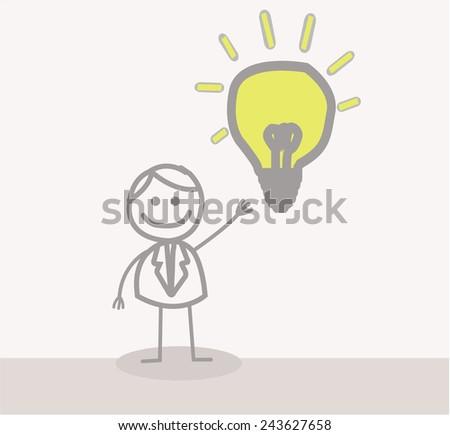 Funny Doodle : Businessman Idea - stock vector