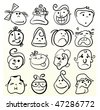 Funny doodle face vector caricature - stock photo