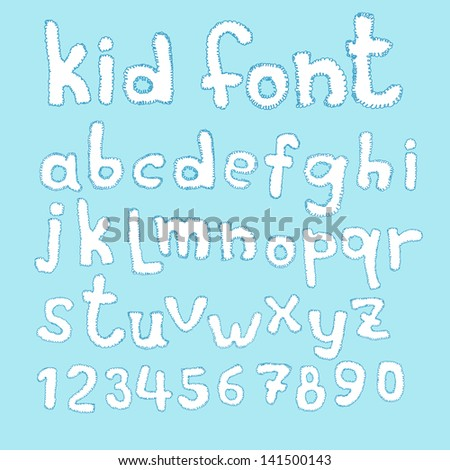 Funny doodle kid abc typeset