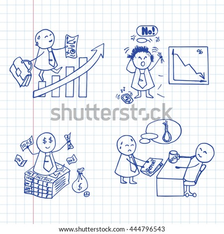 Funny doodle office workers icons. Vector business set on graph paper.