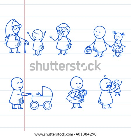Funny doodle people icons on striped paper. Family vector set.