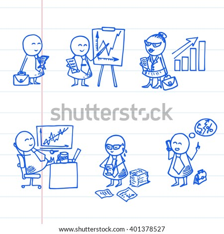 Funny doodle people icons on striped paper. Vector office set.