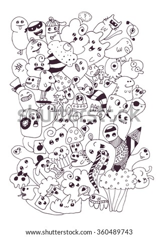 Funny doodle vector illustration, vector cartoon