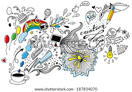 funny doodles from one cup of coffee  - stock vector