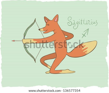 Funny drawing of a zodiac symbol - Sagittarius. One of a set. Vector illustration. - stock vector
