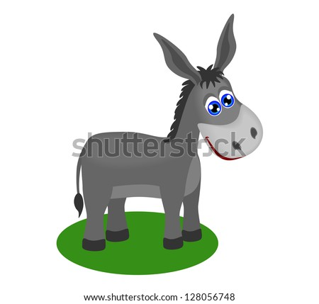 Funny drawing of cute donkey, vector illustration - stock vector