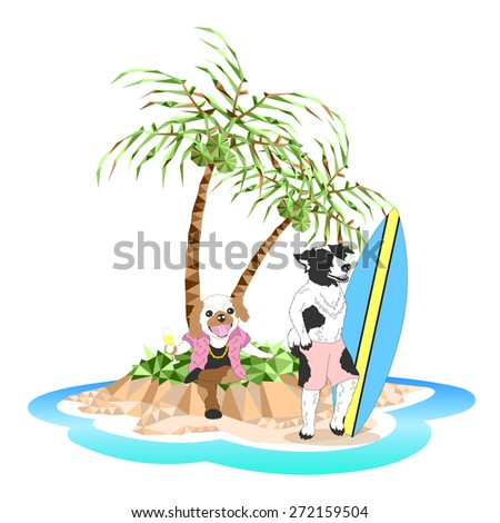 funny duo dogs at the beautiful island, travel vacation trip, drink champagne and surfing, vector design