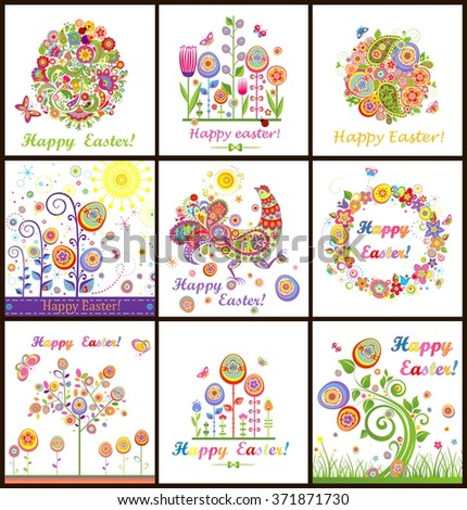 Funny Easter cards - stock vector