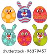Funny Easter eggs set - stock vector