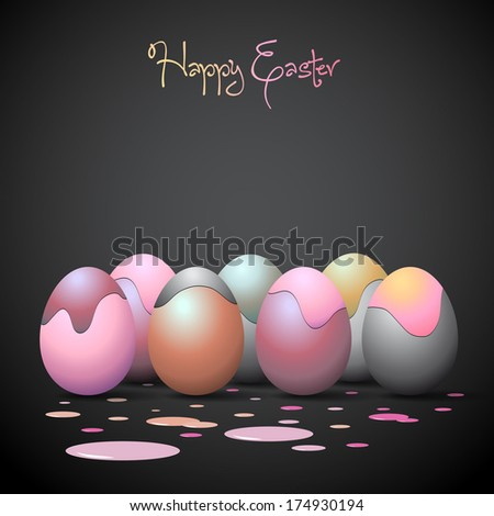 Funny Easter eggs with paint stains - vector eps10 - stock vector