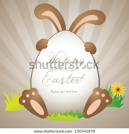 Funny easter greeting card or poster background template with copy-space - stock vector
