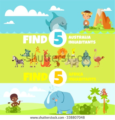 Funny educational game design concept with cute cartoon animals for preschool children. Find australia and africa animals. Vector illustration - stock vector