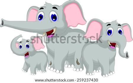 funny elephant cartoon family - stock vector