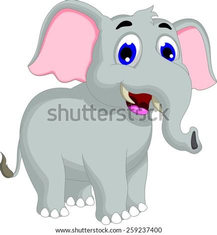 funny elephant cartoon posing - stock vector