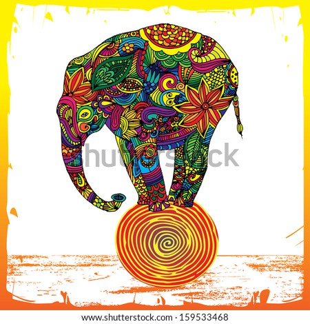 Funny elephant standing on ball - stock vector