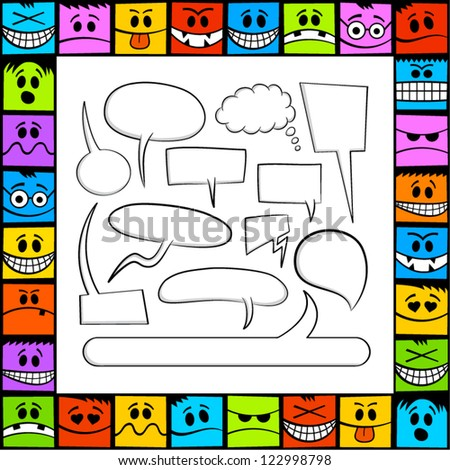 Funny emotions and speech bubbles. - stock vector