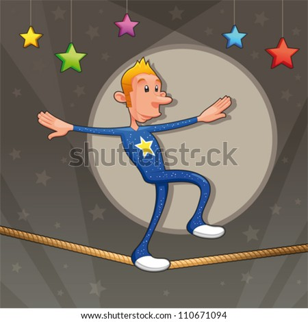 Funny equilibrist is walking on the tightrope. Cartoon and vector illustration. - stock vector
