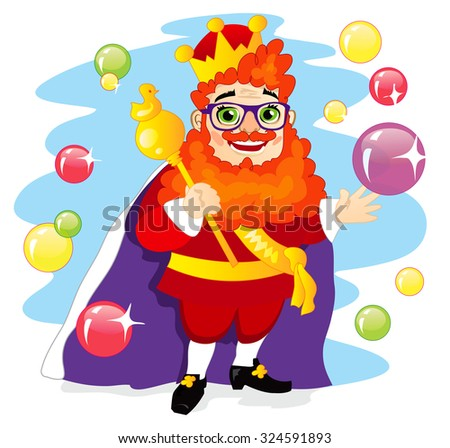 Funny extravagant red-bearded king with a magical scepter