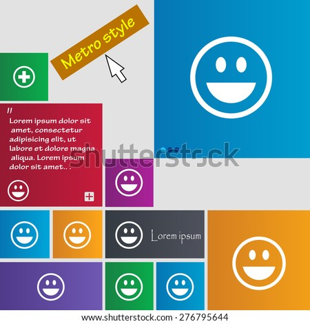 funny Face icon sign. Metro style buttons. Modern interface website buttons with cursor pointer. Vector illustration